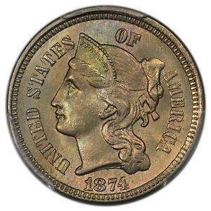 Click now to see the BUY IT NOW Price! 1874 3C THREE CENT NICKEL PCGS MS65  CAC