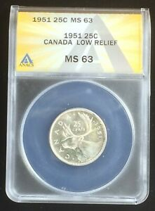 Click now to see the BUY IT NOW Price! 1951 CANADA LOW RELIEF QUARTER ANACS MS63 KEY VARIETY