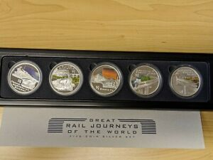 Click now to see the BUY IT NOW Price! 2004 PERTH MINT GREAT RAIL JOURNEYS OF THE WORLD 5 X 1OZ SILVER PROOF COIN
