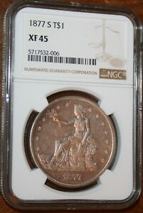 USA 1877 S TRADE DOLLAR NGC GRADED XF 45 SILVER CLASSIC PROBLEM FREE COIN