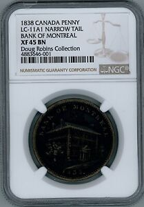Click now to see the BUY IT NOW Price! LOWER CANADA SIDE VIEW PENNY 1838 BR.523 LC 11A1 NGC XF 45 BN