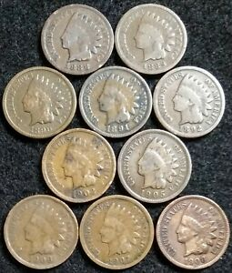 10 INDIAN HEAD CENTS 1888  1889  1890  1891 1892 1902 1905 1906 1907 1908  638