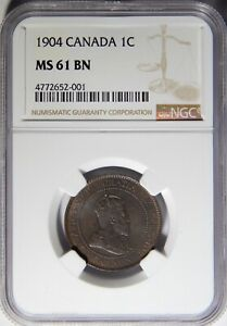 1904 CANADA LARGE CENT NGC MS61 BN 1C