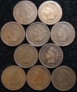 10 INDIAN HEAD CENTS 1880  1884 1895 1896 1897 1900  1901  1902  1903 1904 651