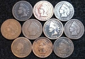LOT OF 10  1890 1899 INDIAN HEAD CENT MIXED/ASSORTED DATES $$ 656