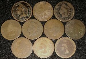 LOT OF 10  1880 1889 INDIAN HEAD CENT MIXED/ASSORTED DATES $$ 658