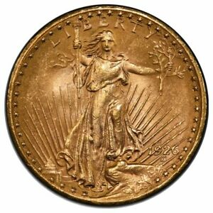 1926 S $20 GOLD ST GAUDENS MOTTO PCGS MS63