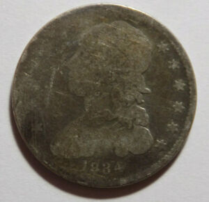 1834 25C CAPPED BUST QUARTER G  DETAILS CLEANED REVERSE RIM DAMAGE; ROTATED DIES