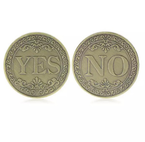 RETRO COLLECTION COIN LUCKY BRONZE THREE DIMENSIONAL EMBOSSED YES OR NO GOLDCOIN