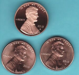 2019  P D S  LINCOLN CENT PENNY   3 COIN  SET  FROM BU BANK ROLLS & PROOF SETS