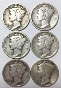 1925 1926 1927 1928 1929 AND 1930 10C MERCURY DIMES 90  SILVER