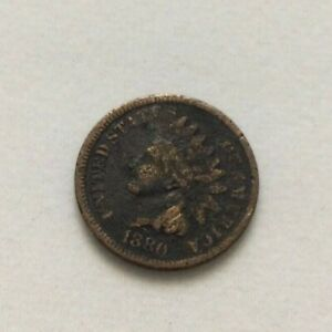 1880 INDIAN HEAD ONE CENT PENNY COIN ESTATE FIND EXACT COIN SHOWN