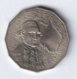 1970 AUSTRALIAN 50 CENT COIN   BICENTENARY OF JAMES COOKS 1770 VOYAGE EF