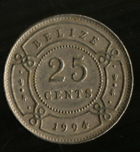 BELIZE 1 QUARTER 25 CENTS QUEEN ELIZABETH COIN. COIN SHOWN IS AN EXAMPLE.