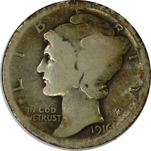 1916 10C SILVER MERCURY DIME RAW UNCERTIFIED 90  US COIN TONED
