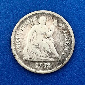 1873 S SILVER SEATED LIBERTY HALF DIME TYPE 4 LEGEND BETTER SAN FRANCISCO COIN