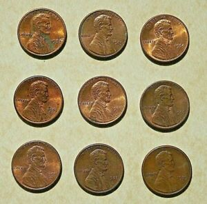 LOT OF 9 CIRCULATED LINCOLN MEMORIAL COPPER 1 CENT COINS /PENNIES 1980S    2046