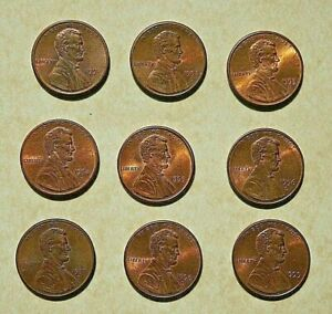 LOT OF 9 CIRCULATED LINCOLN MEMORIAL COPPER 1 CENT COINS /PENNIES 1990S    2047