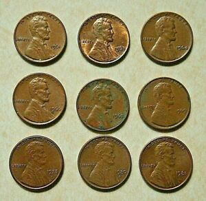 LOT OF 9 CIRCULATED LINCOLN MEMORIAL COPPER 1 CENT COINS /PENNIES 1960 80S 2045