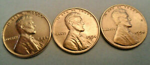 1954 P D S LINCOLN WHEAT CENT / PENNY SET    FINE OR BETTER