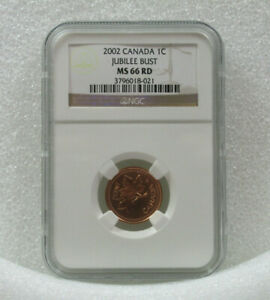 2002 1C CANADA NGC MS 66 RD CENT 2002 JUBILEE BUST MS 66 RED