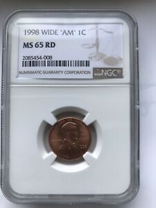 1998 WIDEAM  1C LINCOLN CENT NGC MS 65 RD