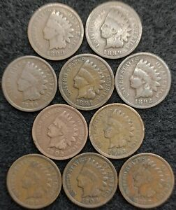 10 INDIAN HEAD CENTS 1888  1889  1890  1891 1892 1902 1903 1905 1906 1907  675