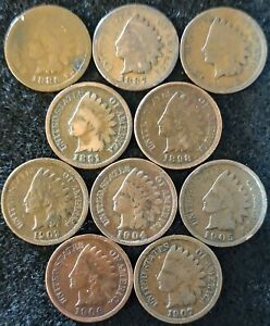 10 INDIAN HEAD CENTS 1886  1887  1888 1891 1898 1903 1904 1905 1906 &1907  548