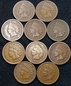 10 INDIAN HEAD CENTS 1888  1889  1895  1898 1899 1902 1903 1905 1906 1907  998