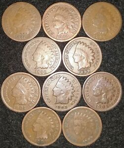 10 INDIAN HEAD CENTS 1881  1883  1887 1890 1897 1901 1903 1905 1906 1907   645