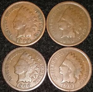 INDIAN HEAD PENNY LOT 1898 1899 1900 & 1901 AVG OR BETTER $  $ 642