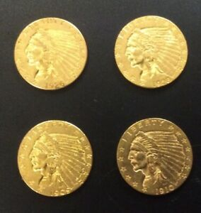 4 SUPERB 1909 1910 1926 1928 GOLD INDIAN $2 1/2 DOLLAR QUARTER EAGLE 2.5