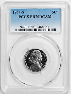 Click now to see the BUY IT NOW Price! 1974 S JEFFERSON NICKEL PCGS PR70DCAM    ONLY 22 EVER GRADED
