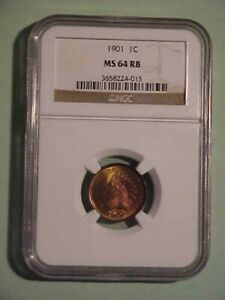 1901 INDIAN CENT NGC MS 64 RB  MOSTLY RED PQ