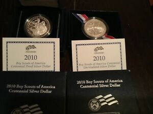 Click now to see the BUY IT NOW Price! TWO 2010 BOY SCOUTS OF AMERICA 1 UNC AND 1 PROOF SILVER DOLLAR P MINT MARK