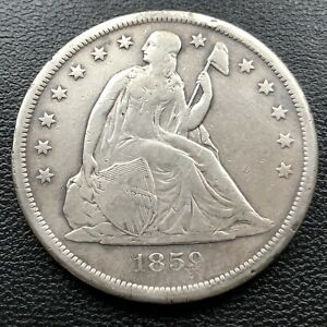 1859 O SEATED LIBERTY DOLLAR ONE DOLLAR $1 BETTER GRADE  4151