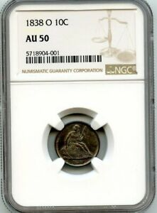 C12136  1838 O NO STARS SEATED LIBERTY DIME NGC AU50