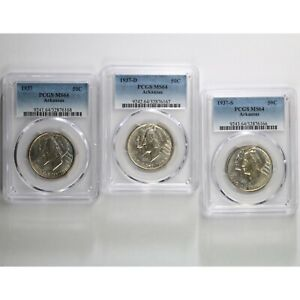 1937 P D S ARKANSAS 50C ALL 3 PCGS CERTIFIED MS64 3 PACK OF SILVER COMMEM COINS