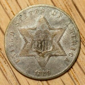 1859 THREE CENT SILVER  LOW MINTAGE  TYPE U.S. EARLY COIN TYPE III TRIME