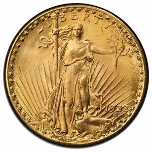 1932 $20 GOLD ST GAUDENS MOTTO PCGS MS65   CAC