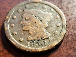 1850 BRAIDED HAIR LARGE CENT     INV09     P946