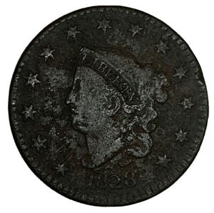 1828 CORONET HEAD LARGE CENT F DETAILS  CORR.  COIN
