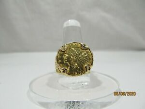 1915 14 K GOLD US QUARTER EAGLE COIN RING   OPEN WORK NUGGET STYLE