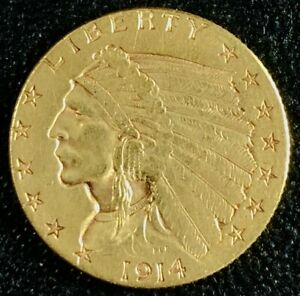 1914 $2.50 INDIAN HEAD GOLD QUARTER EAGLE   JACOBS COIN COLLECTION
