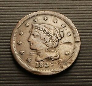 US 1843 BRAIDED HAIR LIBERTY HEAD LARGE ONE 1 CENT F C 5791