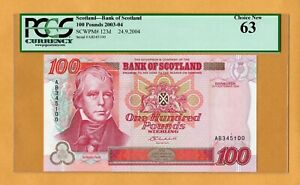 Click now to see the BUY IT NOW Price! BANK OF SCOTLAND 100 POUNDS P 123D 2004 PCGS 63 SIR WALTER SCOTT BANKNOTE