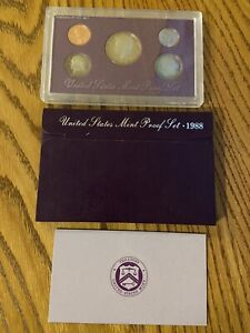 1988 S UNITED STATES US MINT 5 COIN PROOF SET WITH ORIGINAL MINT PACKAGING