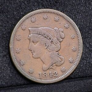 1842 LARGE CENT   LARGE DATE   VG  34100