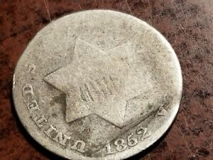 1852 THREE CENT SILVER ODD DENOMINATION     L04     NL1046