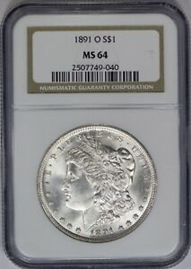 1891 O NGC SILVER MORGAN DOLLAR MS64 TOUGH MINT STATE NEW ORLEANS COIN
